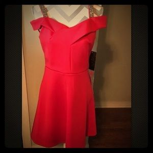 NWT! Red Dress Shortsleeve With Rhinestone Straps